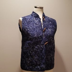 Quilted Blue Sleeveless Button-down Jacket Vest
